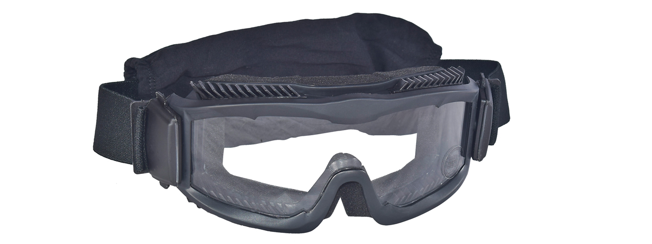 CA-221B AIRSOFT SAFETY GOGGLES W/STYLIZED VENTS (BLACK) LENS: CLEAR - Click Image to Close
