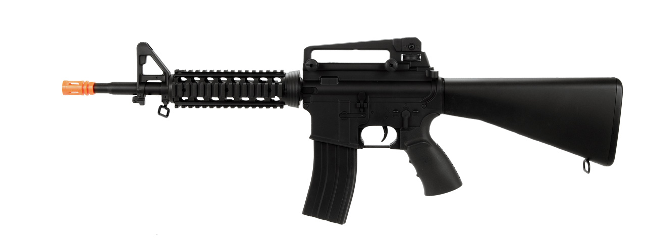 WELL AIRSOFT M4 AEG TACTICAL RIS W FIXED STOCK CARRYING HANDLE - BLACK - Click Image to Close
