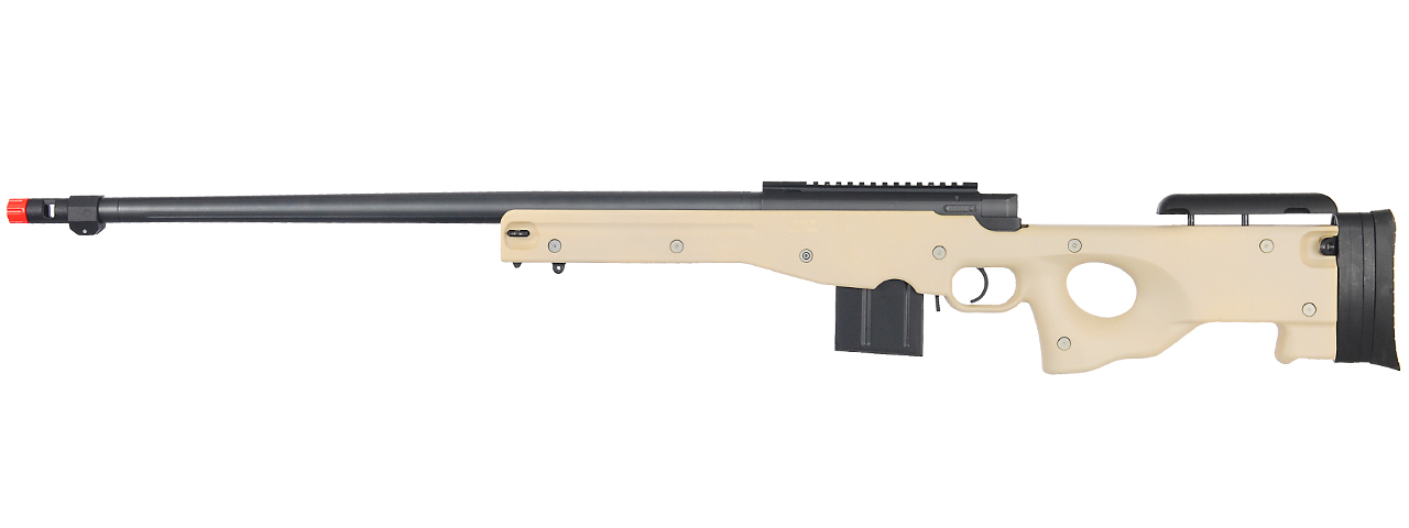 WELL AIRSOFT L96 BOLT ACTION RIFLE W/ FLUTED BARREL OPTICS RAIL - TAN - Click Image to Close