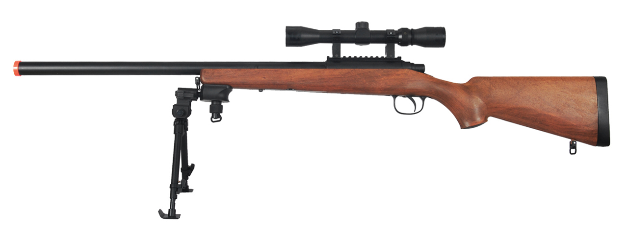 AGM MP001AAB BOLT ACTION SNIPER RIFLE w/ SCOPE & BI-POD (COLOR: WOOD) - Click Image to Close