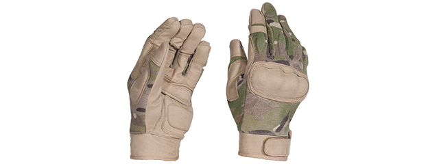 AC-813S TACTICAL HARD KNUCKLE GLOVES (COLOR: CAMO) SIZE: SMALL