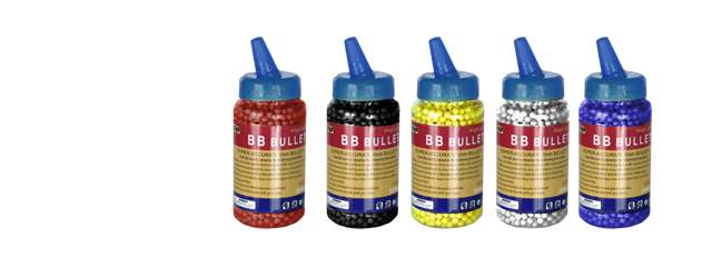Cyma BB02(BOTTLE)CYM 0.12g 6mm Seamless BBs, 2000 Rounds per Bottle, Single Color per Case