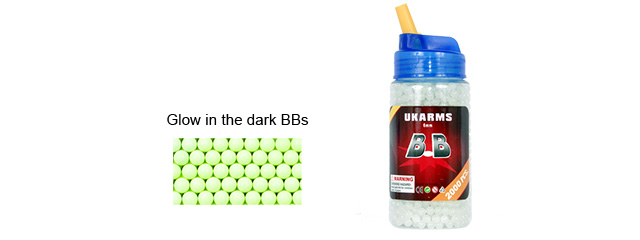 UKARMS BB2000L Glow In The Dark 0.12g 6mm BBs, 2000 Rounds per Bottle