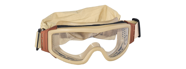 Lancer Tactical CA-201T Airsoft Safety Goggles Basic - Desert Tan Frame / Clear Lens