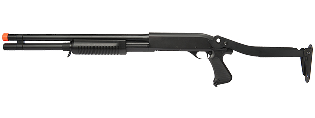 CM352L TRI-BURST SPRING SHOTGUN LONG BARREL w/METAL FOLDING STOCK (COLOR: BLACK)
