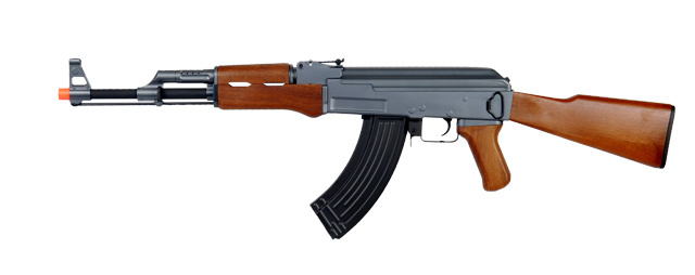 Cyma CM028 AK47 Auto Electric Gun Metal Gear, ABS Body, ABS Wood, Fixed Stock