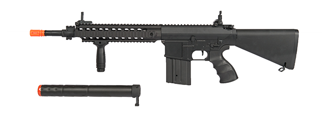 Golden Eagle JG FB6651 SR-25 RIS AEG Metal Gear, Fixed Stock, Vertical Foregrip