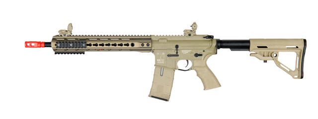 ICS CXP UK1 TRANSFORM4 EBB KEYMOD AIRSOFT M4 AEG RIFLE LONG - TAN
