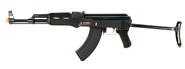 Golden Eagle JG JG0507BMG AK-47S AEG Metal Gear, Polymer Body, Under Folding Stock, ABS Rubber Hand Guard in Black
