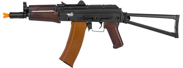 Lancer Tactical LT-07W AKS-74U AEG Metal Gear, ABS Body, Side Folding Stock, Wood Color