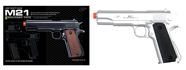 UK ARMS AIRSOFT 1911 FULL SIZE SPRING POWERED PISTOL - SILVER