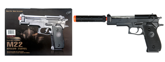 Double Eagle M22 Spring Pistol w/ Silencer