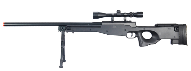 WELL MB01BAB L96 AWP BOLT ACTION RIFLE w/BIPOD & SCOPE(COLOR: BLACK)
