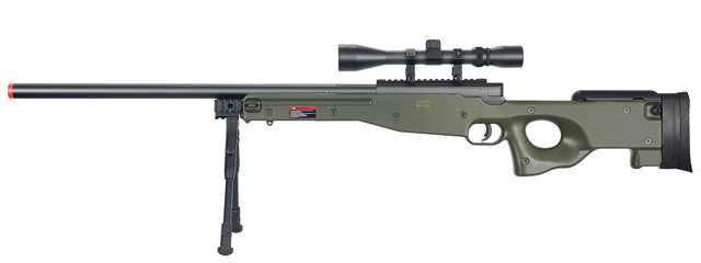 WELL MB01GAB L96 AWP BOLT ACTION RIFLE w/BIPOD & SCOPE(COLOR: OD GREEN)