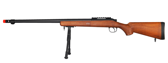 WELL MB07WBIP VSR-10 BOLT ACTION RIFLE w/FLUTED BARREL & BIPOD (COLOR: WOOD)