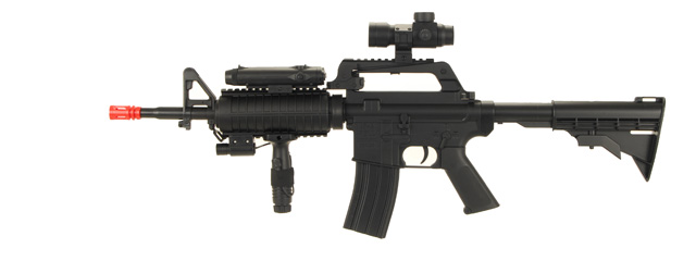 Well MR744 M4A1 Spring Rifle w/ Flashlight, Laser, PEQ Box, Vertical Foregrip, Retractable LE Stock