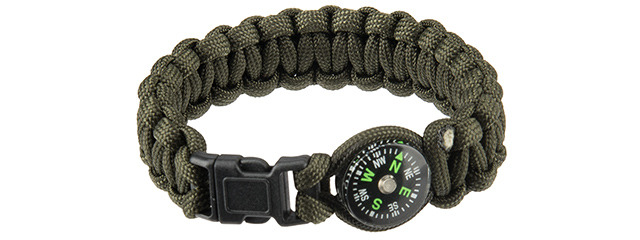 "CA-5039 9"" PARACORD BRACELET, SMALL BUCKLE W/ COMPASS (OD)"