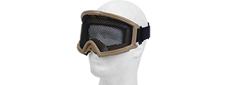 2611T TACTICAL GEAR STEEL MESH GOGGLES WITH VISOR (TAN)