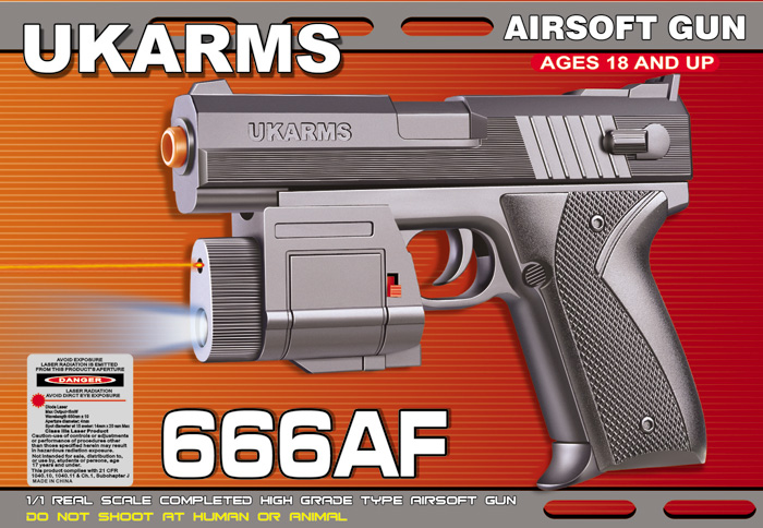 UKARMS 666AF Spring Pistol w/ Laser and Flashlight