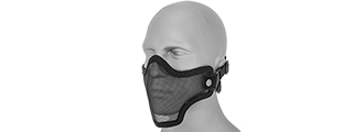 AC-103B METAL MESH HALF MASK (BLACK) DOUBLE STRAP VERSION