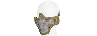UK ARMS AIRSOFT TACTICAL METAL MESH HALF MASK - DIGI DESERT