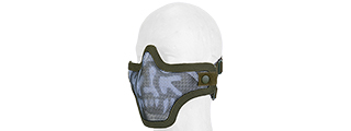 METAL MESH HALF MASK (OD GREEN & SKULL) DOUBLE STRAP VERSION