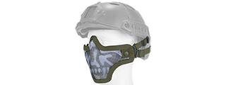 AC-103OH METAL MESH HALF MASK (OD GREEN & SKULL) HELMET VERSION