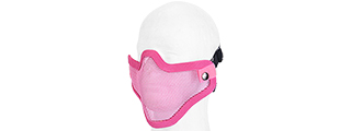 AC-103P METAL MESH HALF MASK (PINK) DOUBLE STRAP VERSION