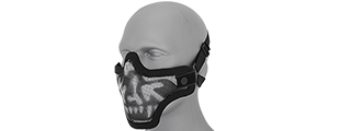 AC-103S METAL MESH HALF MASK (BW SKULL) DOUBLE STRAP VERSION