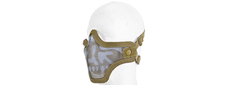 AC-103T2 METAL MESH HALF MASK (TAN & SKULL) DOUBLE STRAP VERSION