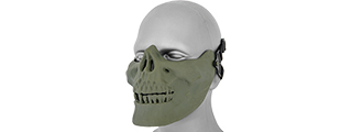 UKARMS AC-104G Tactical Skull Skeleton Half Mask for Airsoft in Green