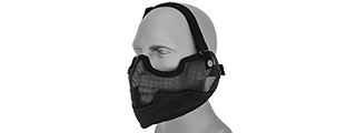 AC-108B METAL MESH HALF MASK w/EAR PROTECTION (BLACK)