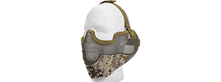 AC-108DD METAL MESH HALF MASK w/EAR PROTECTION (DESERT DIGITAL)