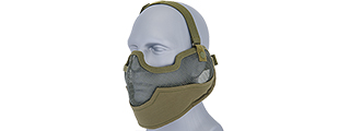 UKARMS AC-108G Tactical Metal Mesh Half Mask with Ear Protection for Airsoft in OD Green