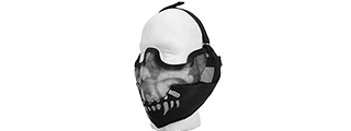 AC-108SB METAL MESH HALF MASK w/EAR PROTECTION (BLACK SKULL)
