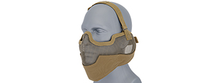 UKARMS AC-108T Tactical Metal Mesh Half Mask with Ear Protection for Airsoft in Desert Tan