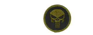UKARMS AC-113 Punisher Skull Circle Black and OD Green Velcro Patch