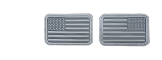 AC-139B ACU Gray Rubber USA Flag Forward and Reverse Patches, set of 2