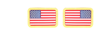 AC-139C Red, White & Blue Rubber USA Flag Forward and Reverse Patches, set of 2
