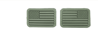 AC-139G OD Green Rubber USA Flag Forward and Reverse Patches, set of 2