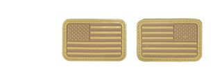 AC-139T Tan Rubber USA Flag Forward and Reverse Patches, set of 2
