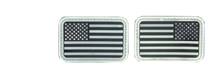 AC-139W Black and White Glow-in-the-Dark Rubber USA Flag Forward and Reverse Patches, set of 2
