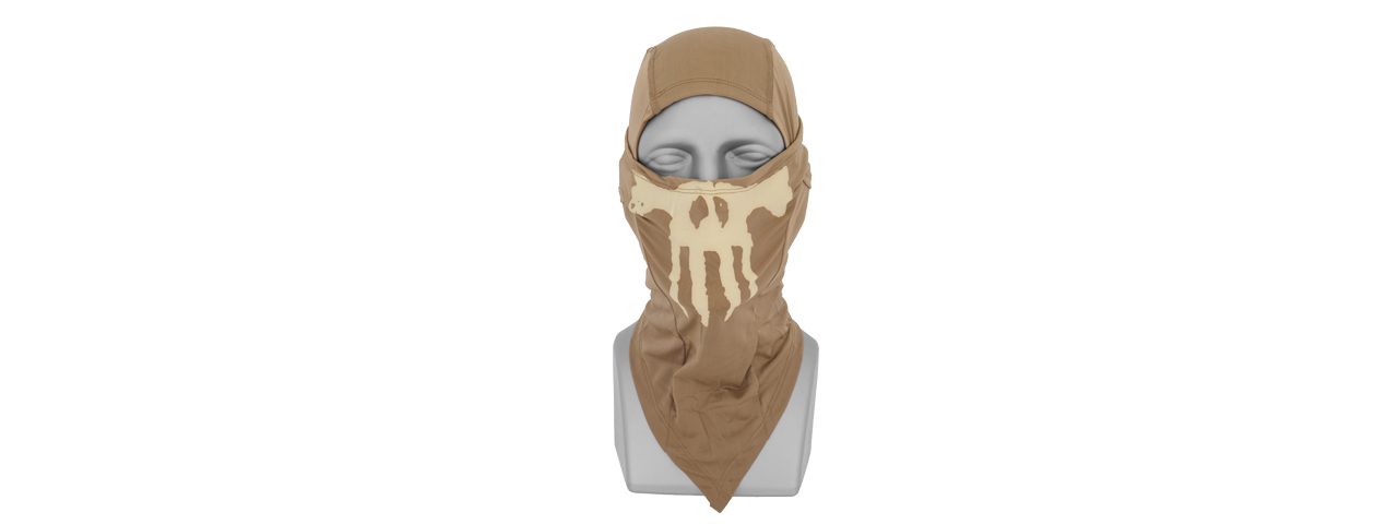 AC-176T Glow-in-the-Dark Skull Balaclava in Tan - Click Image to Close
