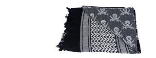 AC-3073 Shemagh, Jolly Roger Black/White