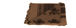 AC-3079 Shemagh, Tactical Skull Pattern in Tan/Black