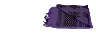 AC-3083 Shemagh, Tactical Skull Pattern in Purple