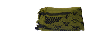 AC-3094 Shemagh, Jolly Roger Pattern, OD Green