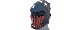 AC-319R VILLAIN SKULL MESH FACE MASK (STARS & STRIPES)