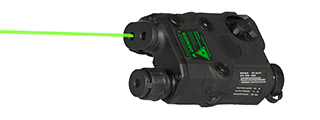 AN/PEQ-15 L.E.D. WHITE LIGHT + GREEN LASER w/IR LENS (BODY COLOR: BLACK)