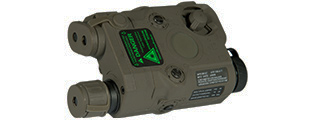 AN/PEQ-15 L.E.D. WHITE LIGHT + GREEN LASER w/IR LENS (BODY COLOR: FOLIAGE GREEN)